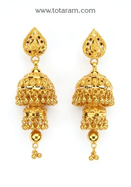 gold jhumkas gold dangle earrings  gjh