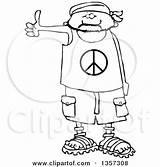 Bandana Cartoon Wearing Sandals Peace Hitchhiker Shorts Male Shirt Clipart Coloring Royalty Posters Prints Illustration Illustrations Vector Clipartof sketch template