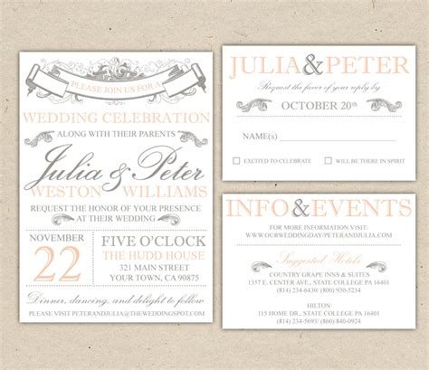 wedding invitation templates  word marina