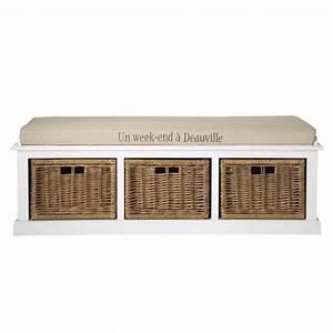 Banc De Rangement Maison Du Monde : banc de rangement blanc et coussin couleur lin l 130 cm ~ Premium-room.com Idées de Décoration