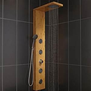 Colonne De Douche Design : colonne de douche hydromassante avec robinetterie aspect bois holoma leroy merlin ~ Preciouscoupons.com Idées de Décoration