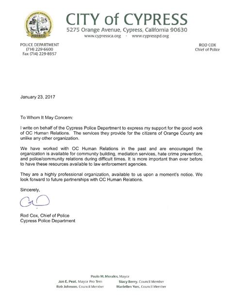 letter  support cypress police department oc human