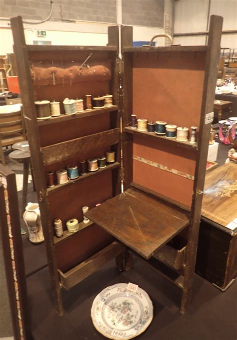 Cotton Cupboard by Upright Oak Sewing Cupboard With A Quantity Of Cotton Reels