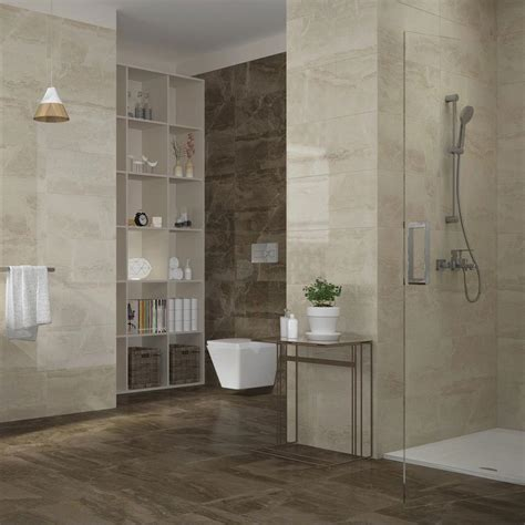 gio brown marble effect porcelain floor tiles   cm