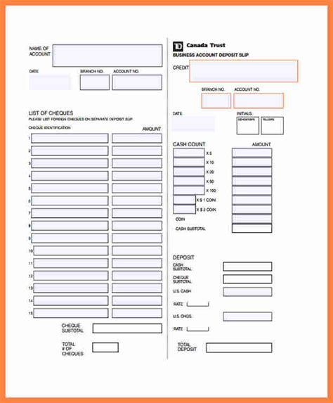 td bank deposit slip template salary slip