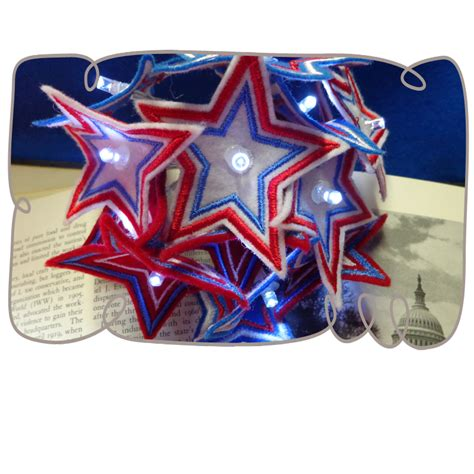 organza 3d 4th of july string lights machine embroidery design