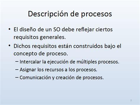 Descripción Y Control De Procesos Sistemas Operativos