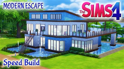 sims 4 house build modern escape family home with pool basement youtube