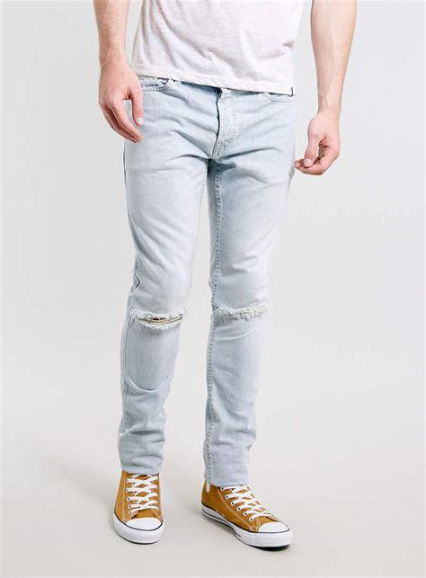 light wash skinny jeans mens light blue ripped jeans for men ye jean