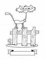 Coloring Fence Really Skinny Kitty Cat Kidsplaycolor sketch template