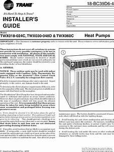 Trane Air Conditioner  Heat Pump Outside Unit  Manual L0802054