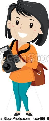 13237 photographer taking a picture clipart vector illustration of a photographer holding a