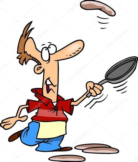 dessin animé de cuisine homme de dessin animé cuisine crêpes image vectorielle