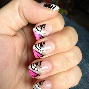 Pink black and white nail design perfectly polished