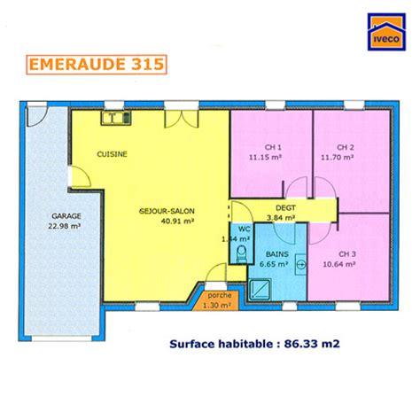 plan maison plain pied 3 chambres plan de maison individuelle plain pied