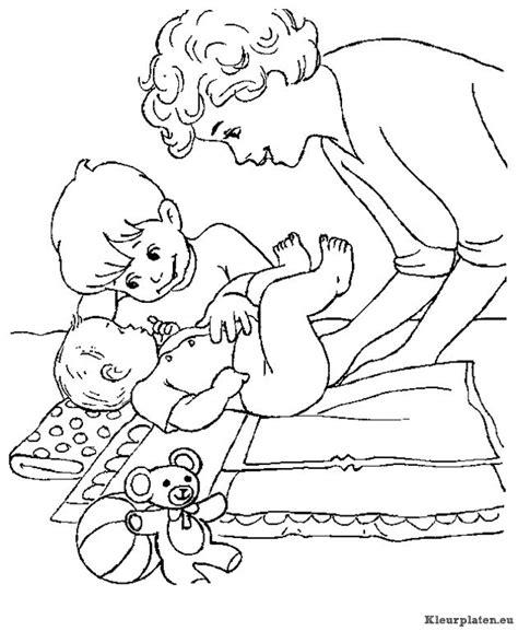 Kleurplaat Baby In Wieg by Familie Om De Wieg Nieuwe Baby Kleurplaat