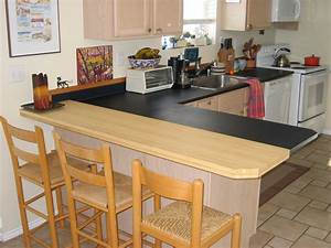 Paperstone countertop with bamboo plywood eating bar - The