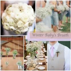 winter wedding babys breath glitter