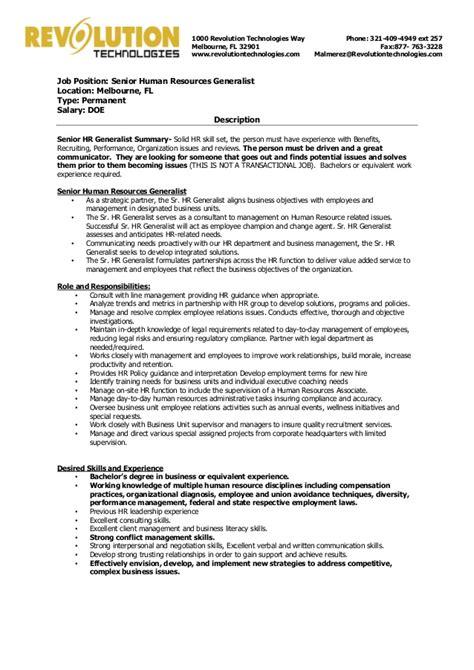 sle resume for hr generalist profile 100 resume exle hr generalist 28 images resume exle for fair resume cover letter sles for