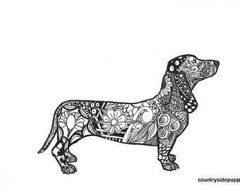 dachshund zentangle etsy