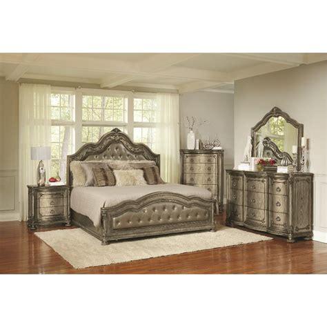 traditional platinum gold  piece queen bedroom set