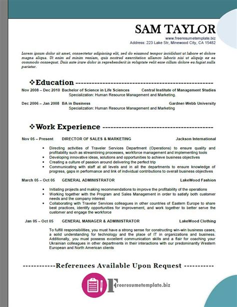 free resume template 2015 free resume templates pack 4 6 sles free resume