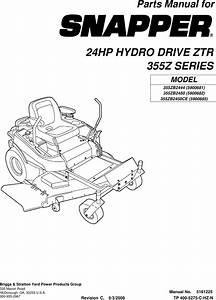 Snapper 355z Series Users Manual Partsmanual
