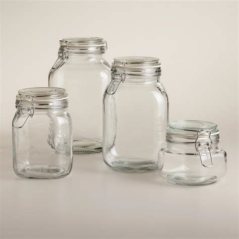Round Glass Jars with Clamp Lids