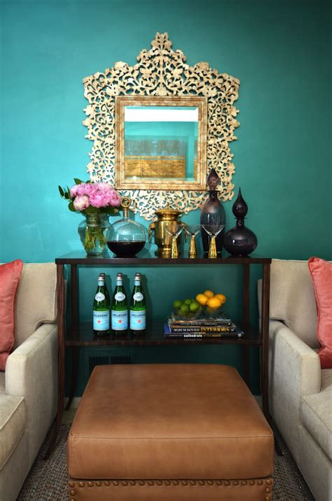 teal walls eclectic living room dalliance design