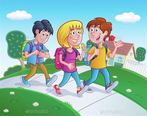 Cartoon Illustration Of Three Kids Walking Home From