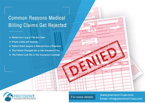 Coding systems health plans, medical billing companies, and healthcare provi. Common Reasons Medical Billing Claims Get Rejected #MedicalBilling #Precision7 | Medical billing ...