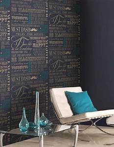 Papier Peint Bleu Foncé : 85 id es de papiers peints salon de l 39 l gance et du style ~ Melissatoandfro.com Idées de Décoration