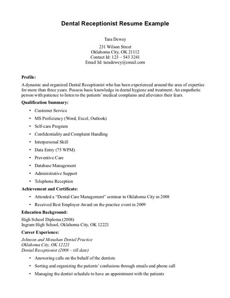 Entry Level Dental Receptionist Resume by Receptionist Resume Exle Out Of Darkness