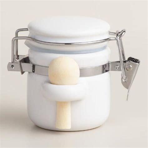 mini white ceramic canisters  spoons set   world