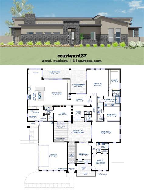 one modern house plans modern courtyard house plan 61custom contemporary
