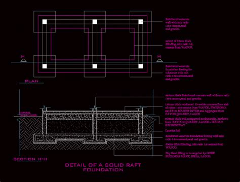 detail  foundations raft  autocad cad  kb