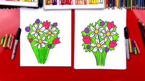 draw  flower bouquet art  kids hub