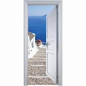 Deco Porte Interieure En Trompe L Oeil : sticker porte trompe l 39 oeil l 39 escalier sur la mer 90x200cm stickers muraux deco ~ Carolinahurricanesstore.com Idées de Décoration