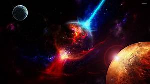 Planet in the red and blue galaxy wallpaper - Space ...