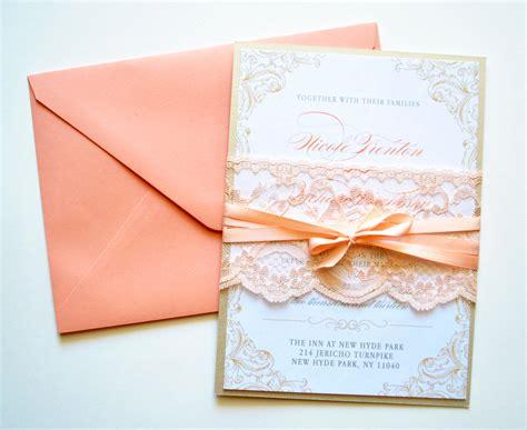 Peach Wedding Invitation Wedding Invitations Lace Rustic