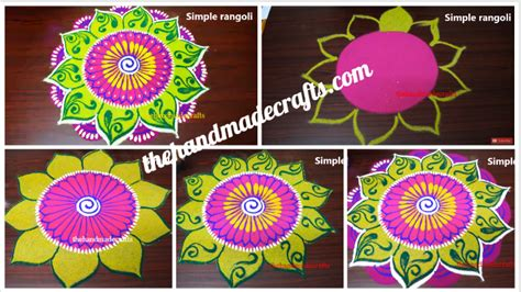 year rangoli designs simple  easy colour kolam