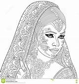 Indian Woman Zentangle Coloring Stylized Cartoon Pages Adult Turban Colouring Illustration Vector Lady Saree Antistress Clipart Drawings Sketch Bindi Illustrations sketch template