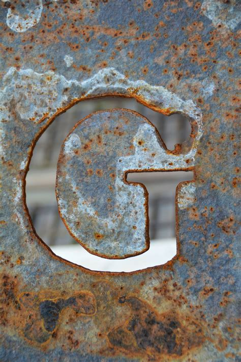 letter alphabet metal plate rock industrial rusty texture material font learning steel symbol circle sign number typography rust type wall