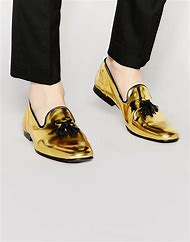 Black and Gold Leather Loafers