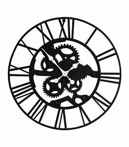 Grande Horloge Industrielle : grande horloge murale ronde en m tal noir style industriel ~ Teatrodelosmanantiales.com Idées de Décoration