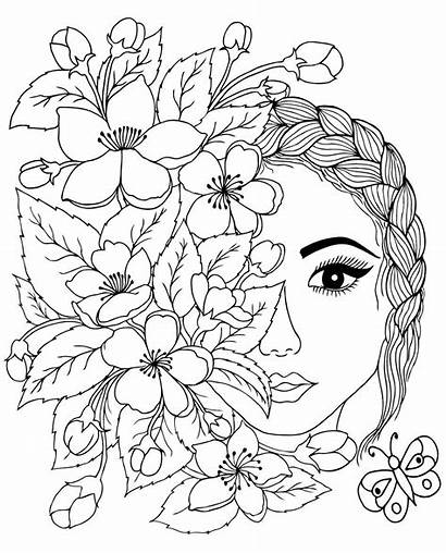 Therapy Face Flowers Coloring Faces раскраски Wonder