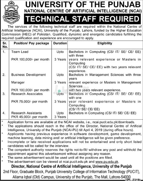University of Punjab Jobs 2019 National Centre of