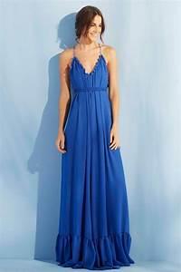 vestido largo azul de fiesta