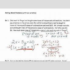 Solving Word Problems With Two Variables Youtube