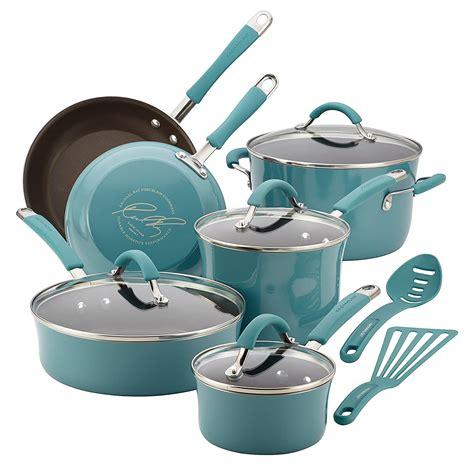cookware sets enamel porcelain ceramic ray rachael steel hard piece pots pans pan pot cook safe kit oven heat saucepans
